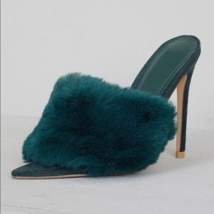Shoes - New Green Fur Mules